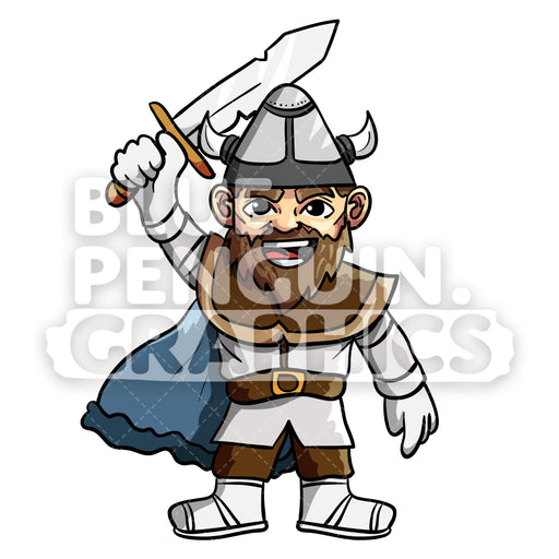 Eric Cool Viking Vector Cartoon Clipart Illustration - Blue Penguin Graphics