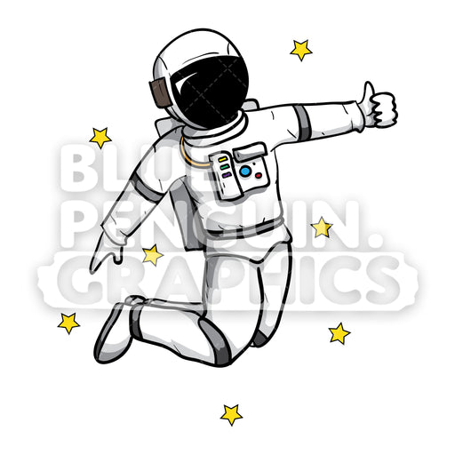 Flying Astronaut Giving Thumbs Up Vector Cartoon Clipart - Blue Penguin Graphics