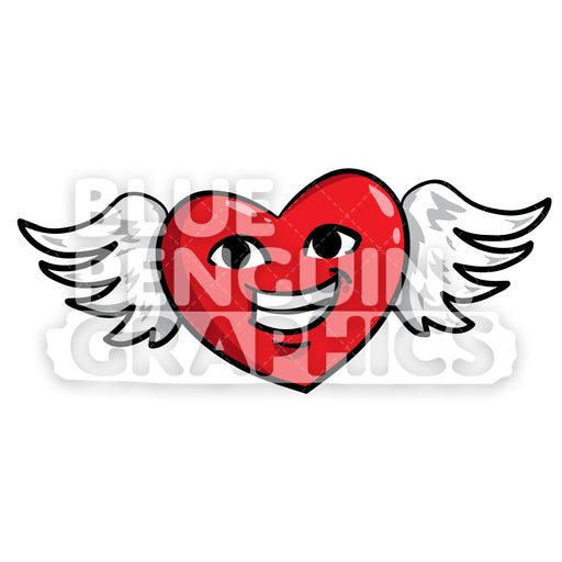 Flying Heart with a Wing Vector Cartoon Clipart Illustration - Blue Penguin Graphics