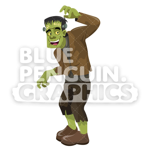 Frankenstein Vector Cartoon Clipart Illustration - Blue Penguin Graphics