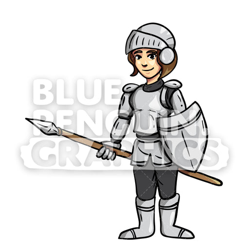 Frikka Cool Knight Vector Cartoon Clipart Illustration - Blue Penguin Graphics