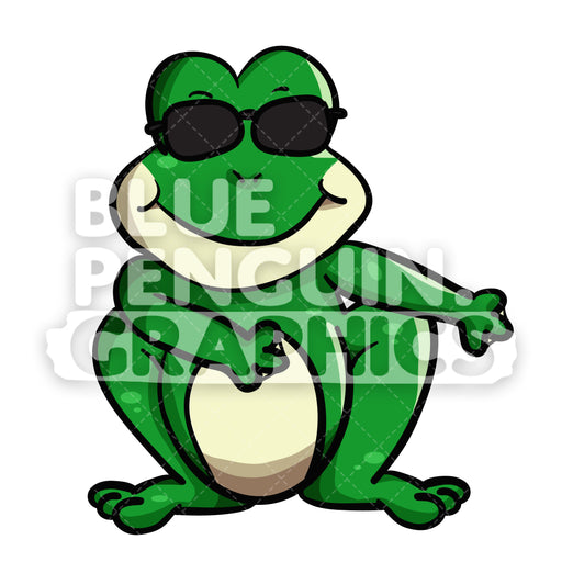 Frog Floss Dance Vector Cartoon Clipart Illustration - Blue Penguin Graphics