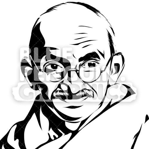 Mahatma Gandhi Face Silhouette - Blue Penguin Graphics