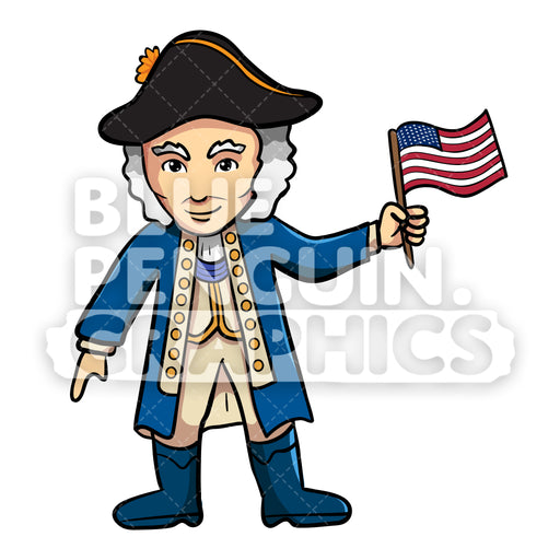 George Washington Bringing USA Flag Vector Cartoon Clipart Illustration - Blue Penguin Graphics