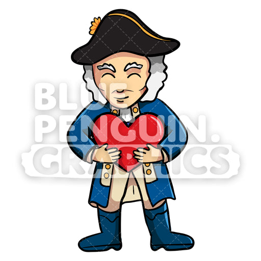 George Washington Bringing a Red Heart Vector Cartoon Clipart Illustration - Blue Penguin Graphics