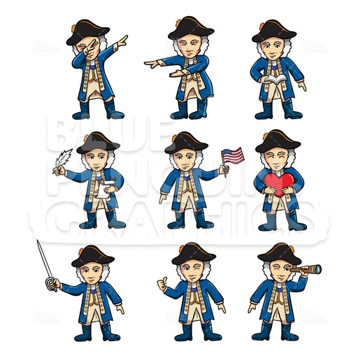 George Washington Bundle Set Vector Cartoon Clipart Illustration - Blue Penguin Graphics