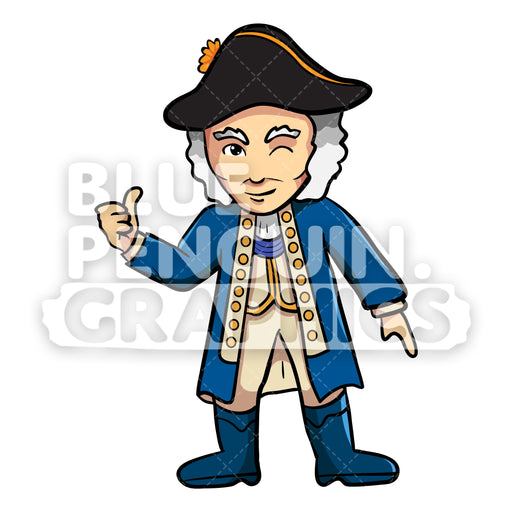 George Washington Giving a Thumbs Up Vector Cartoon Clipart Illustration - Blue Penguin Graphics