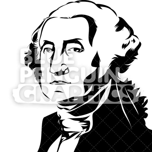 American President George Washington Silhouette - Blue Penguin Graphics