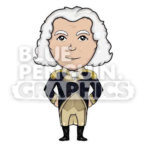 George Washington Standing Vector Cartoon Clipart Illustration - Blue Penguin Graphics