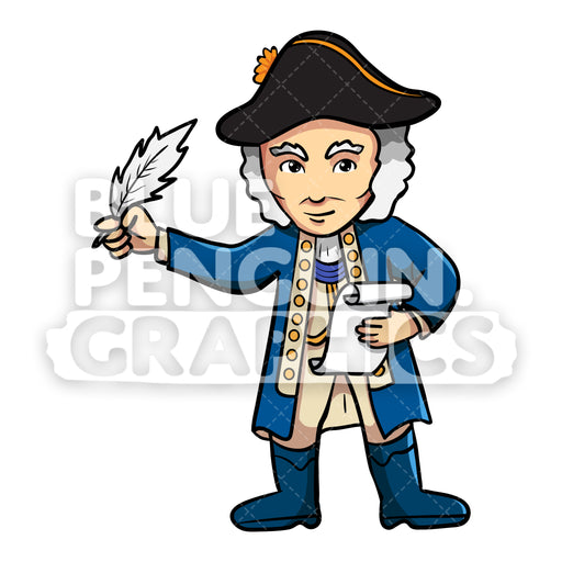 George Washington Writing on a Paper Vector Cartoon Clipart Illustration - Blue Penguin Graphics