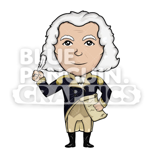 George Washington Writing on Old Paper Vector Cartoon Clipart Illustration - Blue Penguin Graphics