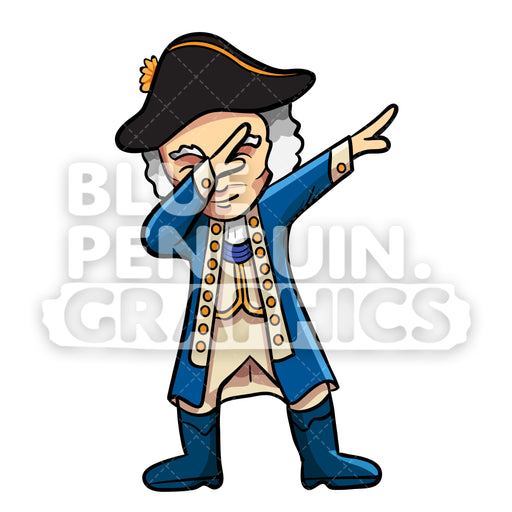 George Washington Dabbing Vector Cartoon Clipart Illustration - Blue Penguin Graphics
