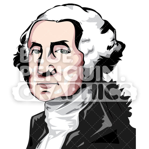 George Washington Vector Cartoon Clipart Illustration - Blue Penguin Graphics
