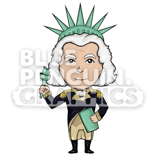 George Washington with Liberty Statue Costume Vector Cartoon Clipart Illustration - Blue Penguin Graphics
