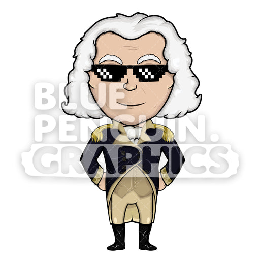 George Washington with a Cool Black Sunglass Vector Cartoon Clipart Illustration - Blue Penguin Graphics