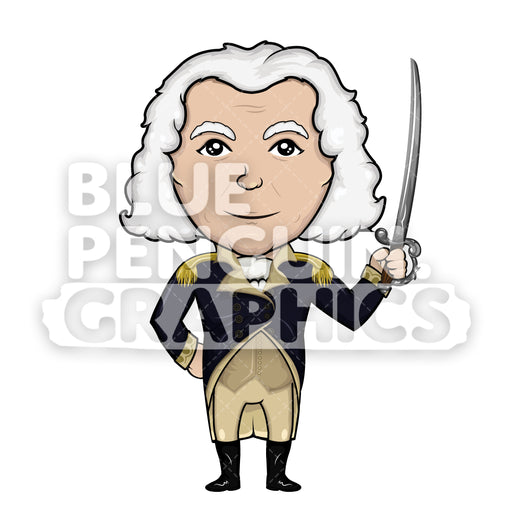 George Washington with a Sword Vector Cartoon Clipart Illustration - Blue Penguin Graphics