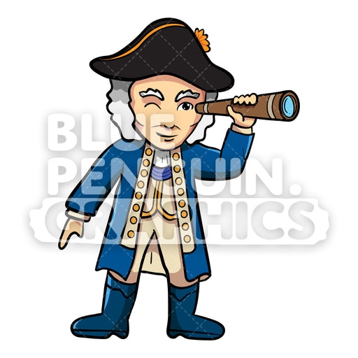George Washington with an Old Telescope Vector Cartoon Clipart Illustration - Blue Penguin Graphics