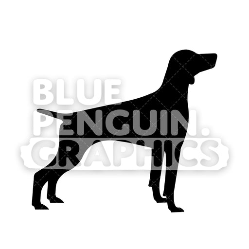 German Pointer Silhouettes Vector Cartoon Clipart Illustration - Blue Penguin Graphics