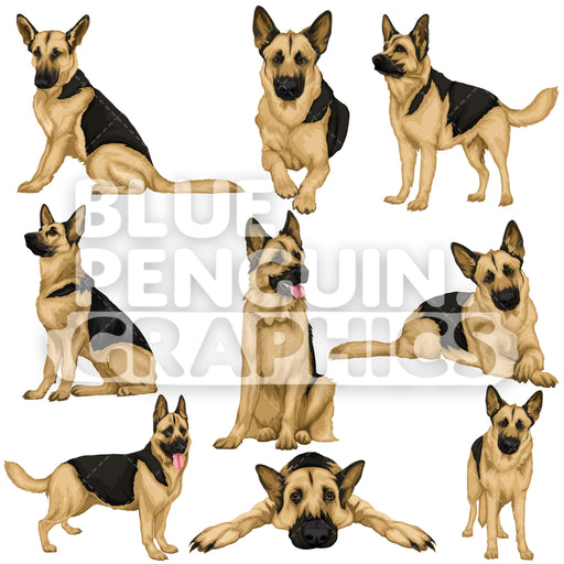German Shepherd Bundle Set Vector Clipart - Blue Penguin Graphics