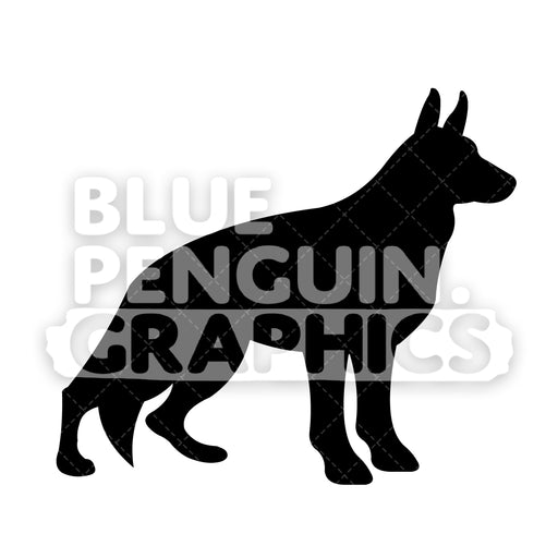 German Shepherd Silhouettes Vector Cartoon Clipart Illustration - Blue Penguin Graphics
