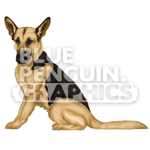 German Shepherd version 1 Vector Clipart Illustration - Blue Penguin Graphics