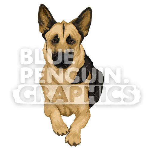 German Shepherd version 2 Vector Cartoon Clipart Illustration - Blue Penguin Graphics