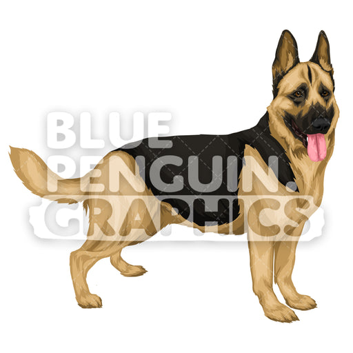 German Shepherd version 7 Vector Cartoon Clipart Illustration - Blue Penguin Graphics