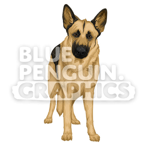 German Shepherd version 9 Vector Cartoon Clipart Illustration - Blue Penguin Graphics