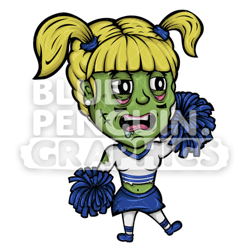 Cheerleader Zombie Vector Cartoon Clipart - Blue Penguin Graphics