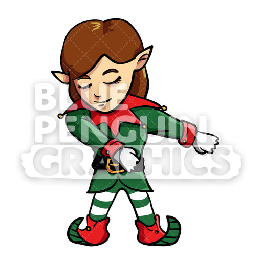 Girly Christmas Elf Floss Dance Vector Cartoon Clipart Illustration - Blue Penguin Graphics