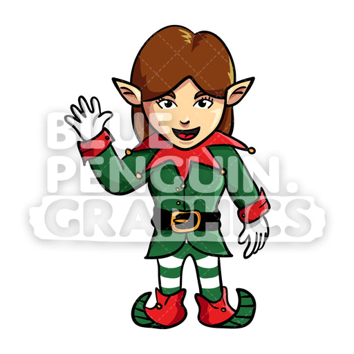 GIrly Christmas Elf Waving Vector Cartoon Clipart Illustration - Blue Penguin Graphics
