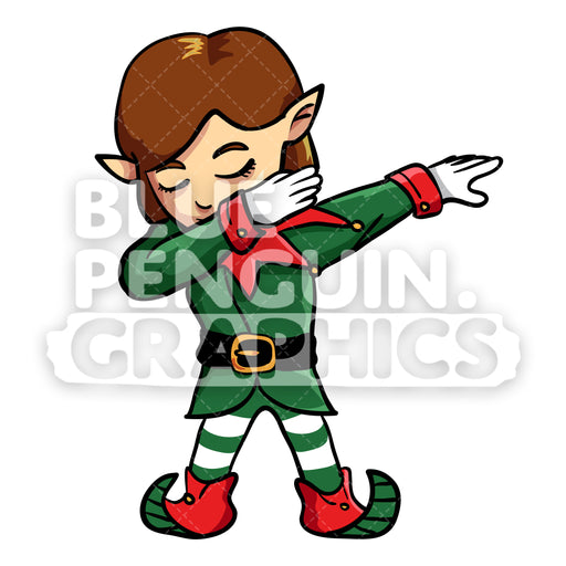 Girly Christmas Elf Dabbing Christmas Vector Cartoon Clipart Illustration - Blue Penguin Graphics