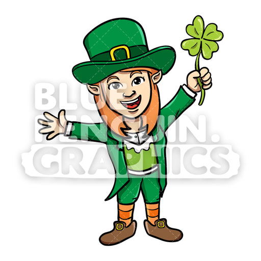 Girly Leprechaun Bring Clover Leaf Vector Cartoon Clipart Illustration - Blue Penguin Graphics