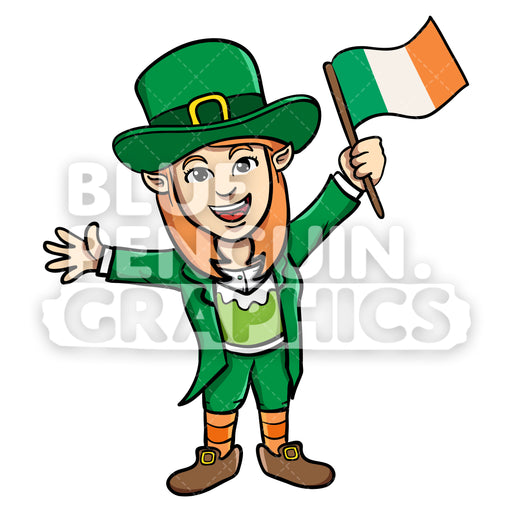 Girly Leprechaun Bringing Irish Flag Vector Cartoon Clipart Illustration - Blue Penguin Graphics