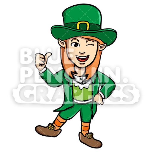 Girly Leprechaun Giving a Thumbs Up Vector Cartoon Clipart Illustration - Blue Penguin Graphics