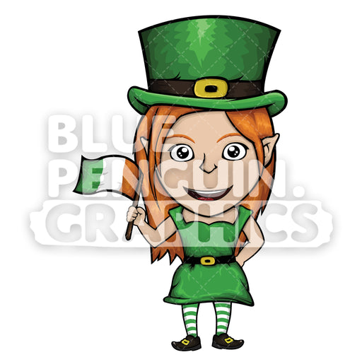 Girly Leprechaun Holding Irish Flag Vector Cartoon Clipart Illustration - Blue Penguin Graphics