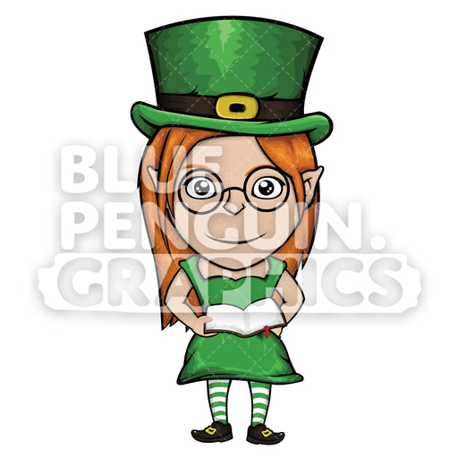 Girly Leprechaun Reading a Book Vector Cartoon Clipart Illustration - Blue Penguin Graphics