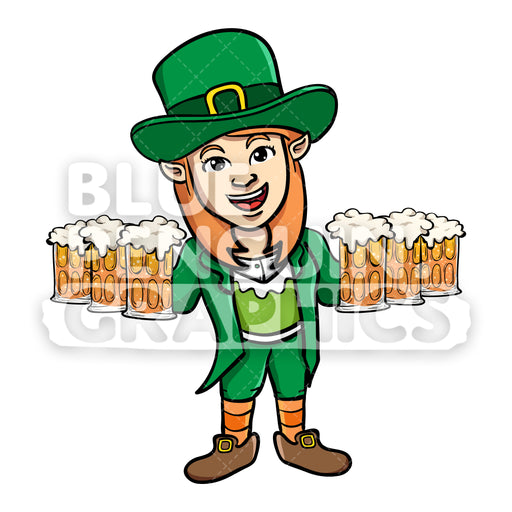 Girly Leprechaun with Glasses of Beer Vector Cartoon Clipart Illustration - Blue Penguin Graphics
