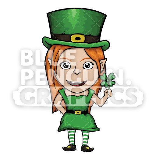 Girly Leprechaun with a Clover Leaf Vector Cartoon Clipart Illustration - Blue Penguin Graphics