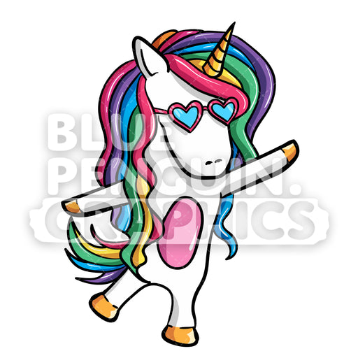 Girly Unicorn Dancing Vector Cartoon Clipart Illustration - Blue Penguin Graphics
