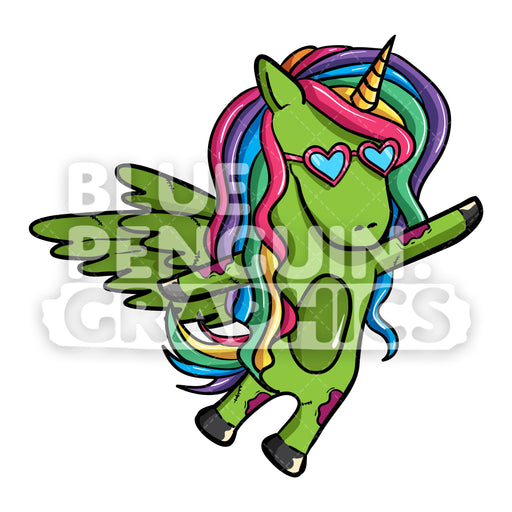 Girly Unicorn Zombie Flying With Wings Vector Cartoon Clipart Illustration - Blue Penguin Graphics