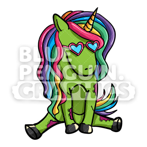 Girly Unicorn Zombie Sitting Dance Vector Cartoon Clipart Illustration - Blue Penguin Graphics
