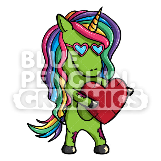 Girly Unicorn Zombie Hug A Red Heart Vector Cartoon Clipart Illustration - Blue Penguin Graphics