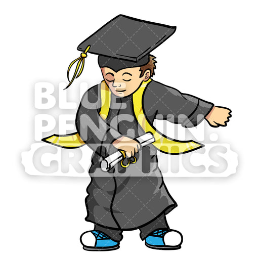 Graduate Flossing Boy Vector Cartoon Clipart Illustration - Blue Penguin Graphics