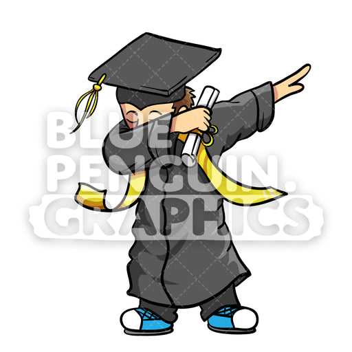 Graduate Dabbing Boy Vector Cartoon Clipart Illustration - Blue Penguin Graphics