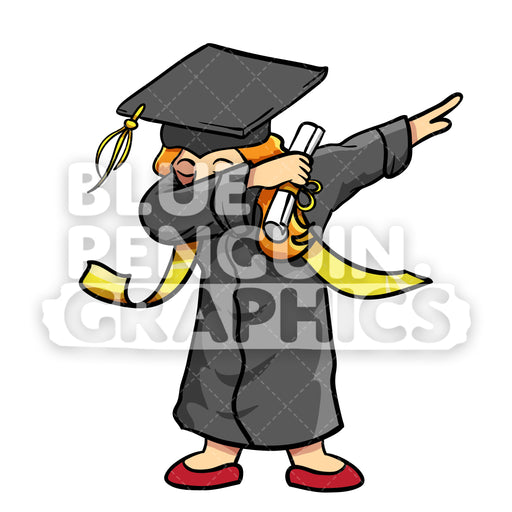 Graduate Dabbing Girl Vector Cartoon Clipart Illustration - Blue Penguin Graphics