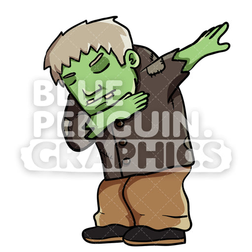 Green Ghost Dabbing Vector Cartoon Clipart Illustration - Blue Penguin Graphics