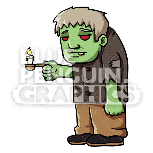 Green Ghost Standing bringing a Candle Vector Cartoon Clipart Illustration - Blue Penguin Graphics