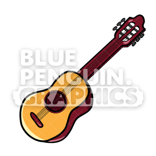 Guitar Vector Cartoon Clipart Illustration - Blue Penguin Graphics