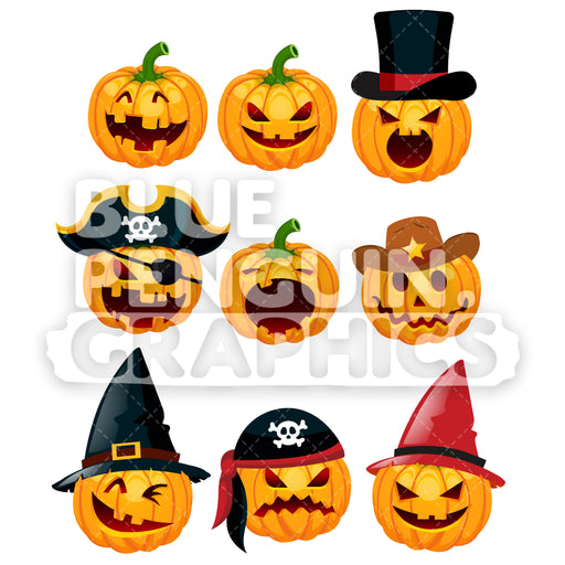 Halloween 9 Scary Pumpkin Set Vector Cartoon Clipart Illustration - Blue Penguin Graphics